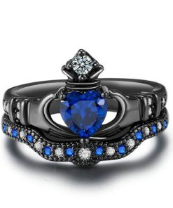 Blue Crystal love Heart Cubic Zirconia Crown Wedding Ring