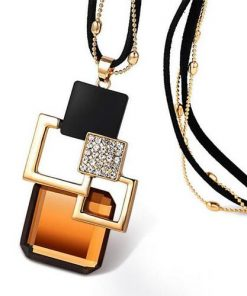 Golden Hollow Geometric Big Crystal Jewelry Pendant Necklace