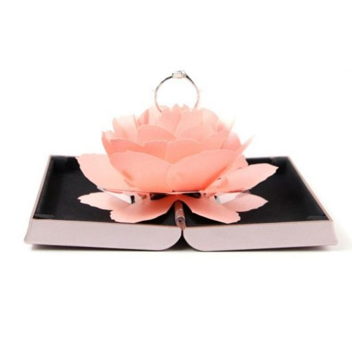 Unique Pop Up Rose Wedding Engagement Rings Box Surprise Jewelry Storage Holder valentine's day Best Gift Boxes For Women
