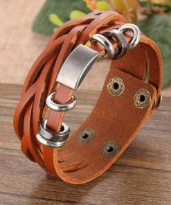 Metal Steel Studded Leather Bangle Cuff Bracelet