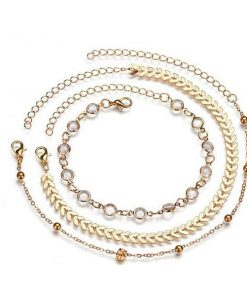 chevron and crystals anklet set 3