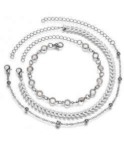 chevron and crystals anklet set 4