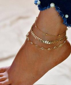 chevron and crystals anklet set 5